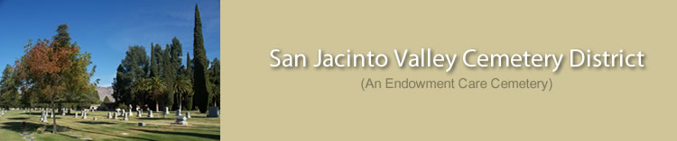 San Jacinto Valley Cementary District Rules information page